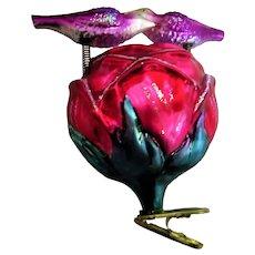 Christopher Radko Glass Birds and Rose Nest Christmas Ornament