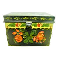 Hand Painted large Metal Tole Box with Lid