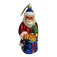 Christopher Radko Hand Blown Glass Santa Christmas Ornament