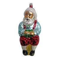 Christopher Radko Glass Santa on Stool Christmas Ornament