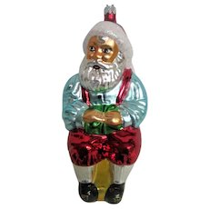 Christopher Radko Glass Santa on Stool Christmas Ornament