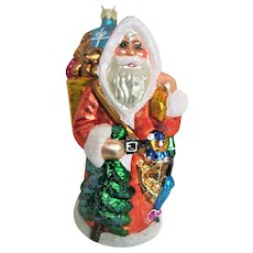 Christopher Radko Glass Santa with toys and trees Christmas Ornament