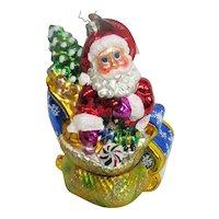 Christopher Radko Glass Santa in Sleigh Christmas Ornament