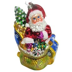 Christopher Radko Glass Santa in Sleigh Christmas Ornament