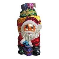Christopher Radko Glass Santa with Wrapped Presents Christmas  Ornament