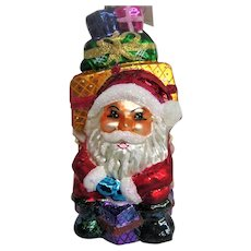 Christopher Radko Glass Santa with Wrapped Presents Christmas  Ornament
