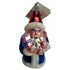 Vintage Christopher Radko Santa Hand Blown Christmas Ornament