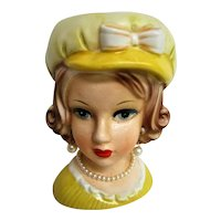 Lady Head Vase with Yellow Dress and Yellow Hat Pearl earrings and pearl Necklace