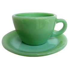 Vintage Fire King Jadeite Restaurant Ware Cup and Saucer