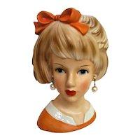 Hand Painted Large Lady Head Vase Orange Dress and Bowl