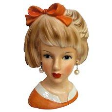 and Painted Large Lady Head Vase Orange Dress and Bowl