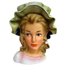 Hand Painted Large Lady Head Vase with Green Ruffled Hat