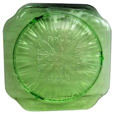 Green Adam Depression Glass Footed Cake Stand