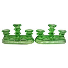 RARE Green Depression Glass Pair  Triple Candle Holders, Candlesticks