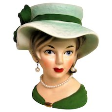 Vintage Lady Head Vase with Green Hat and Green Dress