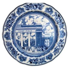 Wedgwood Blue and White Yale Walter Camp Memorial Gateway Plate