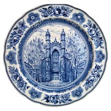 Wedgwood Blue and White Yale Old Library Plate