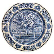 Wedgwood Blue and White Yale College Fence and Campus Plate