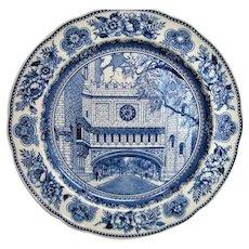 Wedgwood Blue and White Yale Fine Arts Bridge Plate