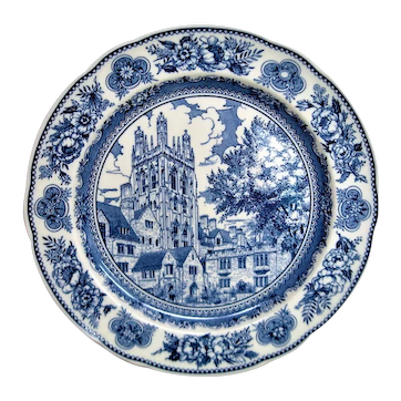 Wedgwood Blue and White Yale Wrexham Tower Plate