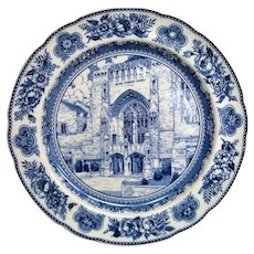 Wedgwood Blue and White Yale Sterling Memorial Library Plate