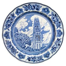 Wedgwood Blue and White  Yale Harkness Memorial Tower Plate
