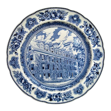 Wedgwood Blue and White Yale Connecticut Hall Plate