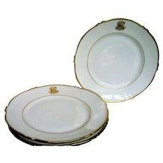 Four Theodore Haviland Gold Trim Monogram Plates
