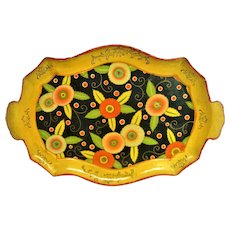 Fabulous Vibrant Two Handled Floral Paper Mache Tray