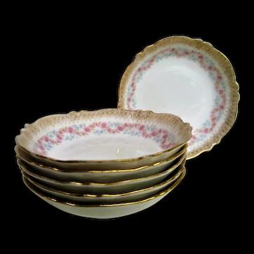 Six Theodore Haviland Porcelain Pink Floral Gold Trim Berry Bowls