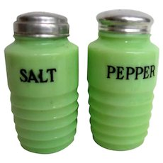 Pair of Vintage Jadeite Salt and Pepper Range Shakers
