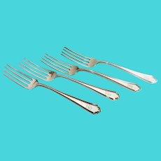 Four (4) Alvin Sterling Silver Salad Forks