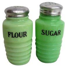 Vintage Set  Jadeite Flour and Sugar Shakers