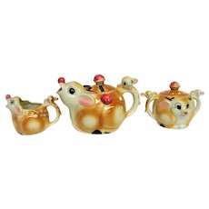 Rudolph the Red Nosed Reindeer Teapot, Sugar and Creamer Set