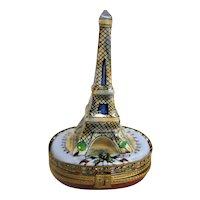 Hand Painted Limoges Eiffel Tower Trinket Box