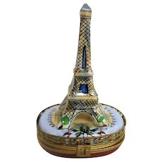 Hand Painted Limoges Eiffel Tower Trinket Box