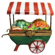 Limoges Hand Painted Awning Covered Vegetable Cart Trinket Box