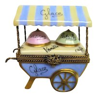 Hand painted Limoges Ice Cream Vendor Cart, Glace, Trinket Box