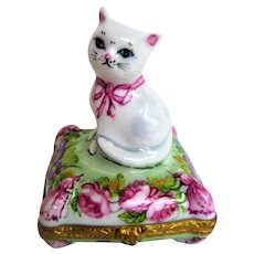 Hand Painted Limoges Kitten on a Pillow Trinket Box