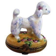 Hand Painted Limoges Poodle Trinket Box