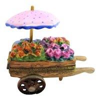 Hand Painted Limoges Rochard  Flower Vendor Trinket Box with Umbrella