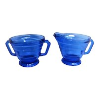 Cobalt Blue Moderntone Depression Glass Creamer and Sugar