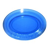 Cobalt Blue Oval Moderntone Depression Glass Platter