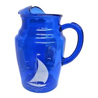 Cobalt Blue Ships, Sailboat, Depression Glass Pitcher with Ice Lip