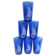 Six Cobalt Blue Ships, Sailboat, Depression Glass Tumblers