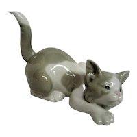 Lladro Gray Stalking Kitten, Cat Porcelain Figurine