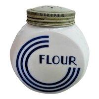 RARE Hocking Glass Blue Circle Flour Range Shaker Canister