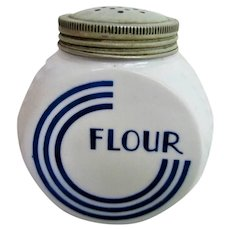 RARE Hocking Glass Blue Circle Flour Range Shaker Canister