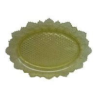 Stunning EAPG Canary Yellow Maple Leaf Glass Tray
