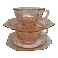 Two Pink Princess Depression Glass Cups and Saucers